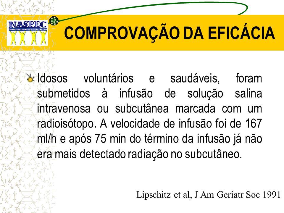 COMPROVAÇÃO DA EFICÁCIA Idosos voluntários e saudáveis, foram submetidos à infusão de solução salina intravenosa ou subcutânea marcada com um radioisó
