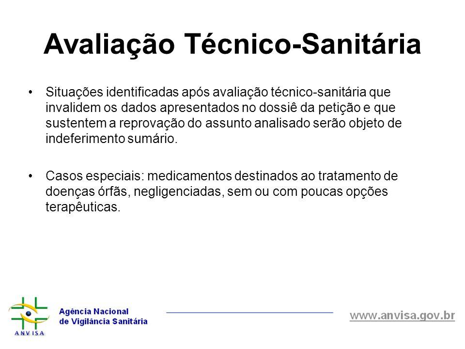Situações identificadas após avaliação técnico-sanitária que invalidem os dados apresentados no dossiê da petição e que sustentem a reprovação do assu