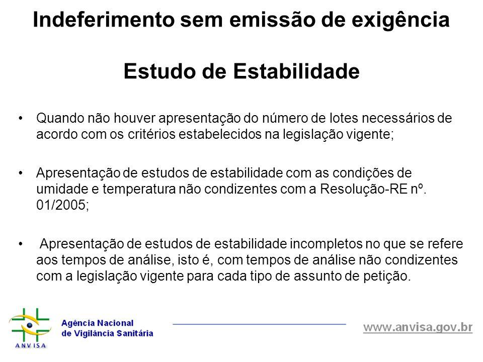 Indeferimento sem emissão de exigência Estudo de Estabilidade Quando não houver apresentação do número de lotes necessários de acordo com os critérios