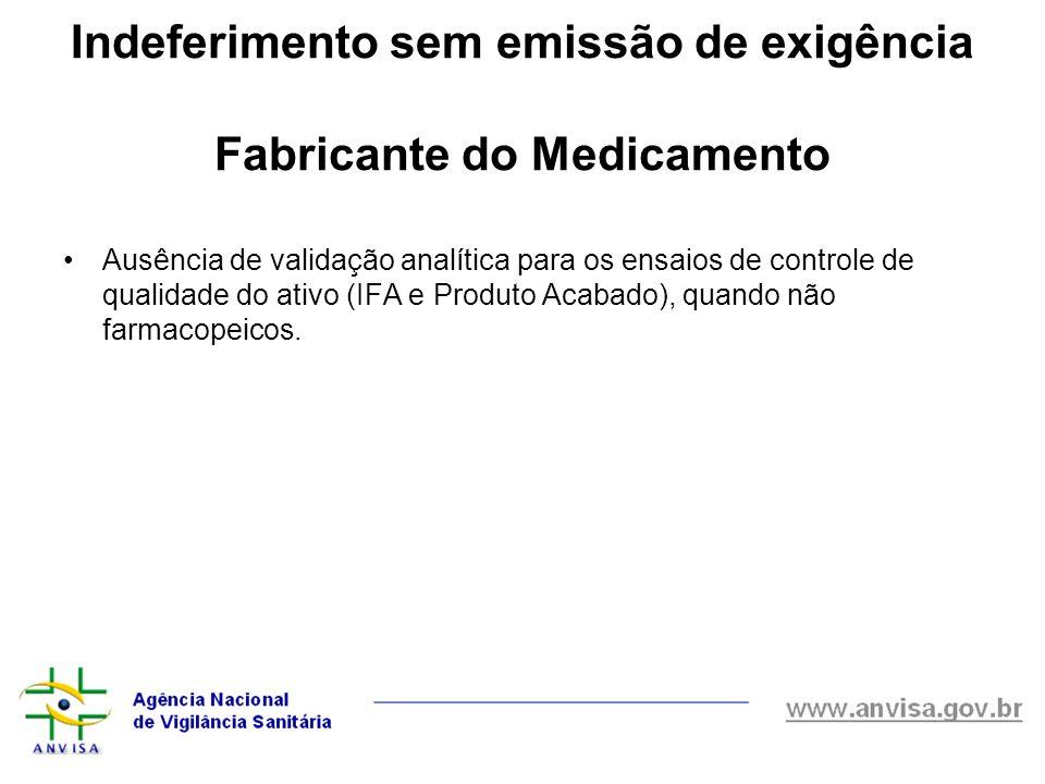 Ausência de validação analítica para os ensaios de controle de qualidade do ativo (IFA e Produto Acabado), quando não farmacopeicos. Indeferimento sem