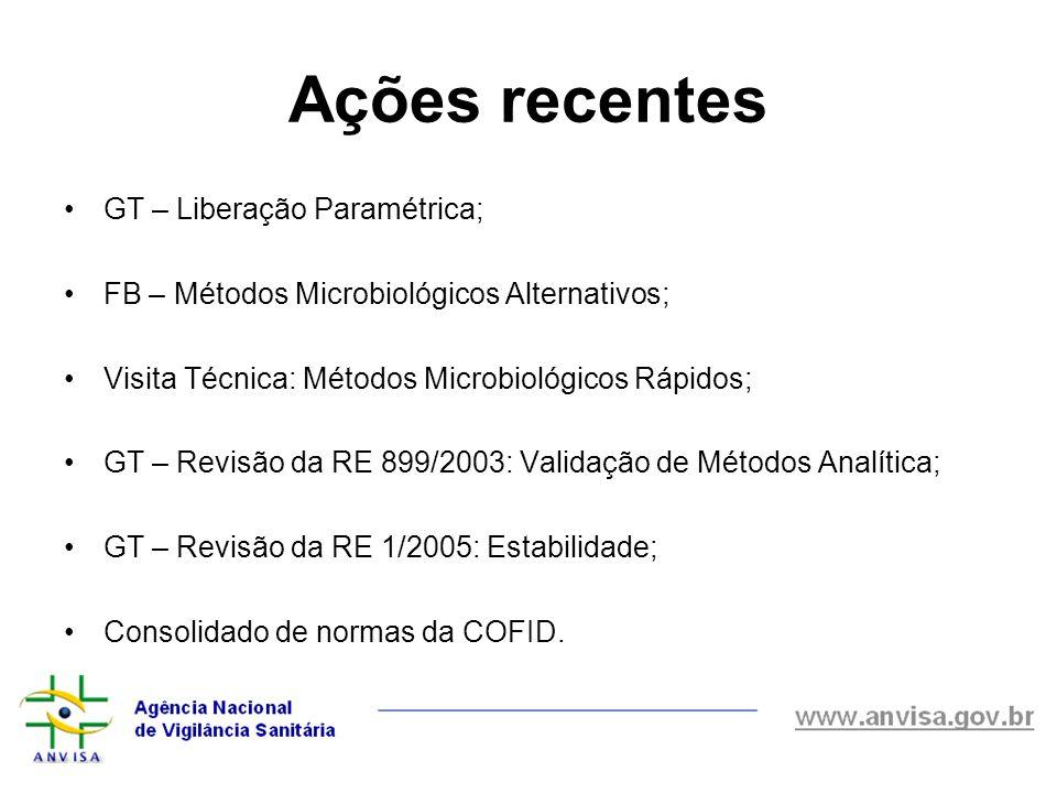 Ações recentes GT – Liberação Paramétrica; FB – Métodos Microbiológicos Alternativos; Visita Técnica: Métodos Microbiológicos Rápidos; GT – Revisão da