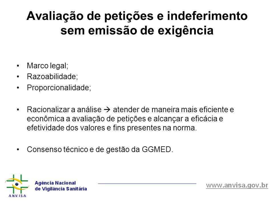 Marco legal; Razoabilidade; Proporcionalidade; Racionalizar a análise  atender de maneira mais eficiente e econômica a avaliação de petições e alcanç