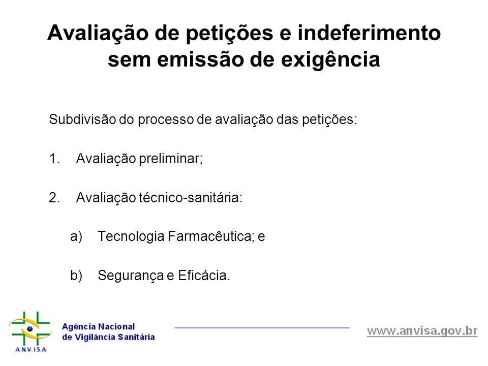 Avaliação de petições e indeferimento sem emissão de exigência Subdivisão do processo de avaliação das petições: 1.Avaliação preliminar; 2.Avaliação t