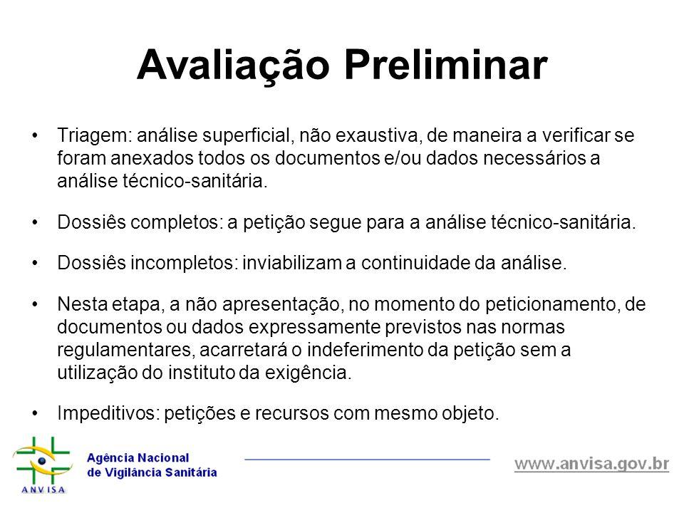 Avaliação Preliminar Triagem: análise superficial, não exaustiva, de maneira a verificar se foram anexados todos os documentos e/ou dados necessários