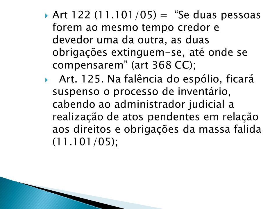 """ Art 122 (11.101/05) = """"Se duas pessoas forem ao mesmo tempo credor e devedor uma da outra, as duas obrigações extinguem-se, até onde se compensarem"""""""