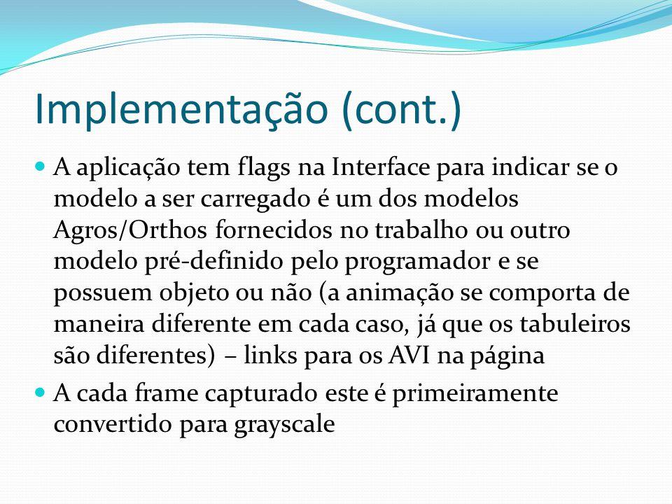 Implementação (cont.) A aplicação tem flags na Interface para indicar se o modelo a ser carregado é um dos modelos Agros/Orthos fornecidos no trabalho