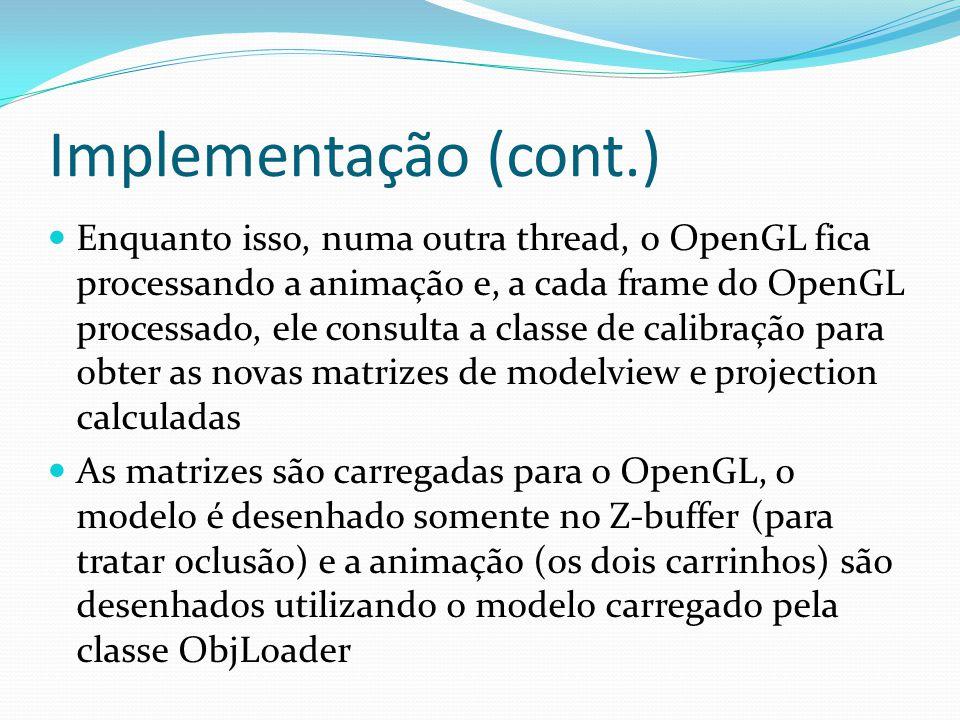Implementação (cont.) Enquanto isso, numa outra thread, o OpenGL fica processando a animação e, a cada frame do OpenGL processado, ele consulta a clas