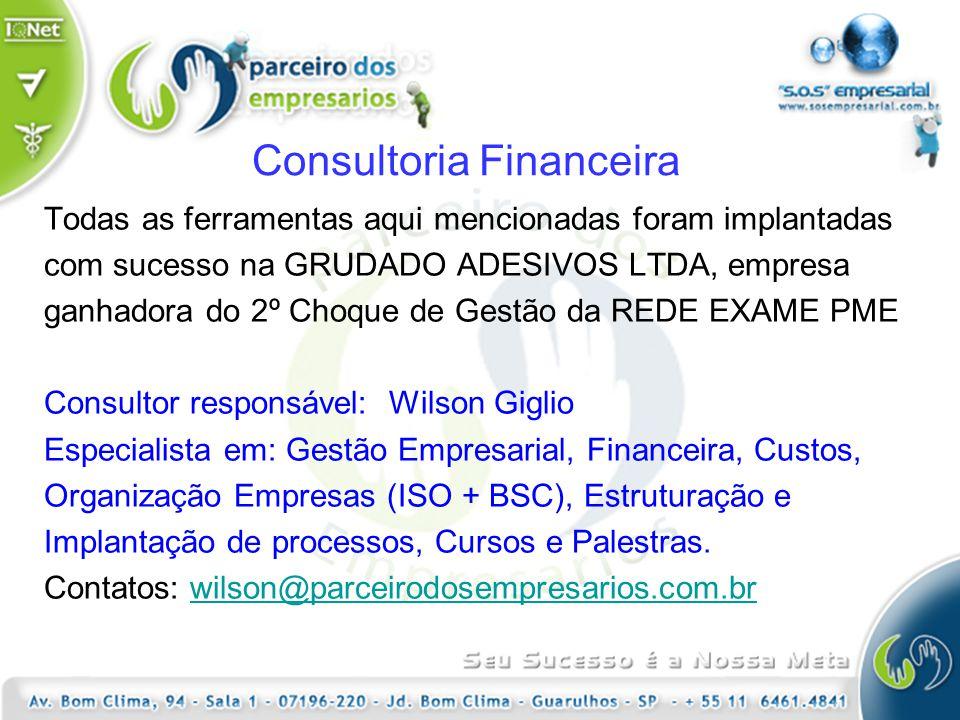 Consultoria Financeira Todas as ferramentas aqui mencionadas foram implantadas com sucesso na GRUDADO ADESIVOS LTDA, empresa ganhadora do 2º Choque de