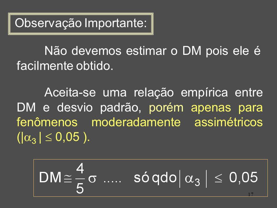 17 Observação Importante: Não devemos estimar o DM pois ele é facilmente obtido.