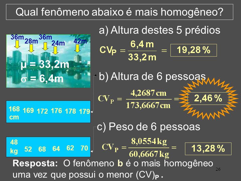 26 Qual fenômeno abaixo é mais homogêneo.