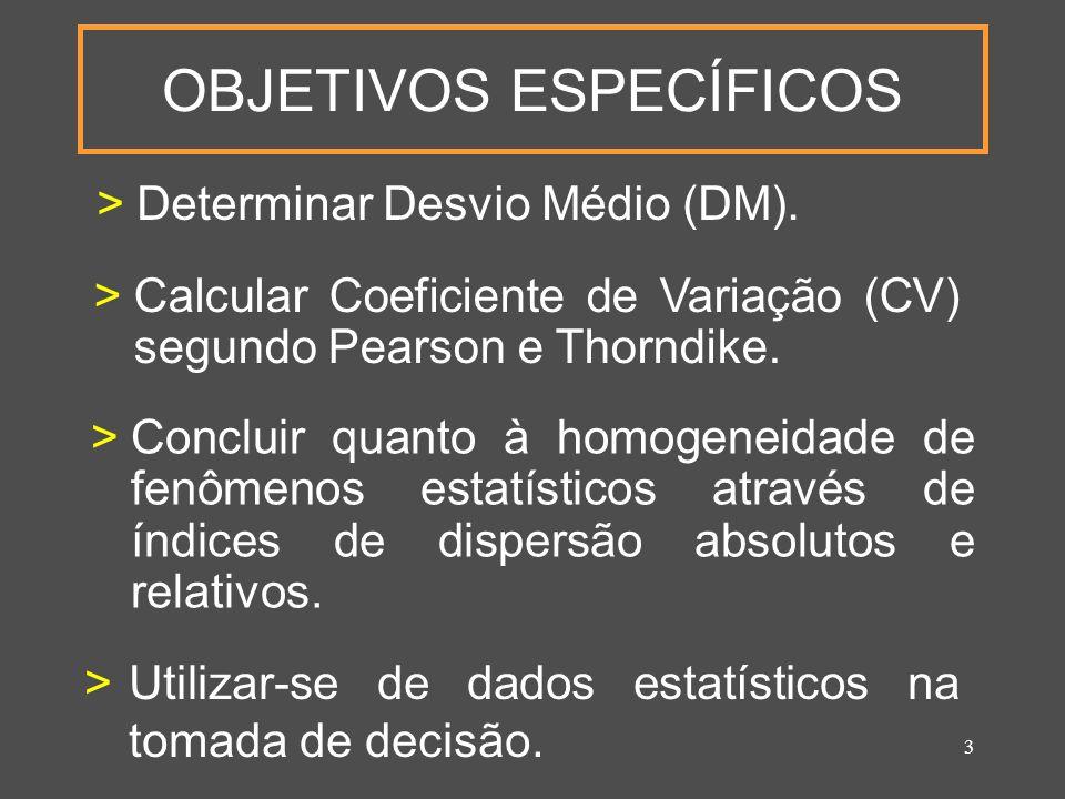 3 OBJETIVOS ESPECÍFICOS >Determinar Desvio Médio (DM).