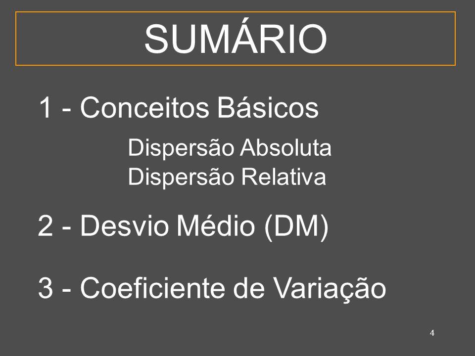 4 SUMÁRIO 1 - Conceitos Básicos Dispersão Absoluta Dispersão Relativa 2 - Desvio Médio (DM) 3 - Coeficiente de Variação