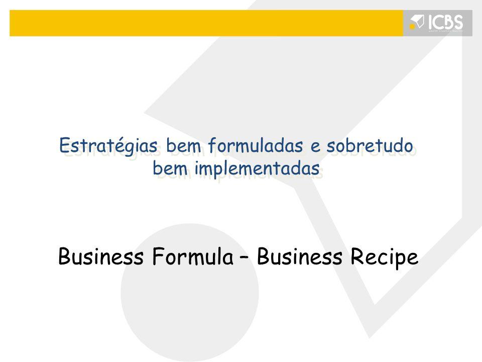 Estratégias bem formuladas e sobretudo bem implementadas Business Formula – Business Recipe