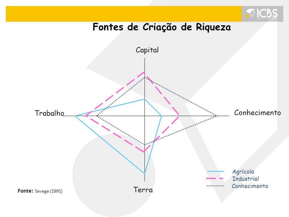 Conhecimento Terra Trabalho Capital Agrícola Industrial Conhecimento Fonte: Savage (1991) Fontes de Criação de Riqueza