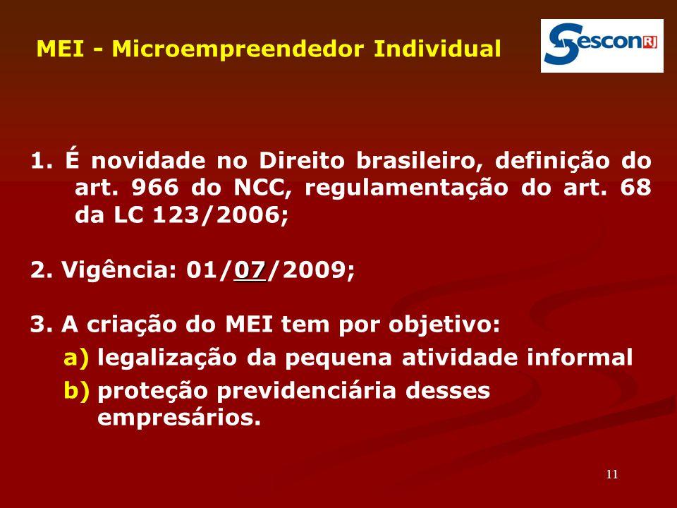 11 MEI - Microempreendedor Individual 1.É novidade no Direito brasileiro, definição do art.
