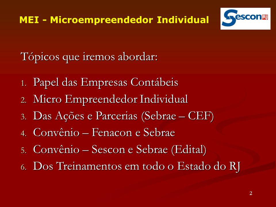 Tópicos que iremos abordar: 1.Papel das Empresas Contábeis 2.