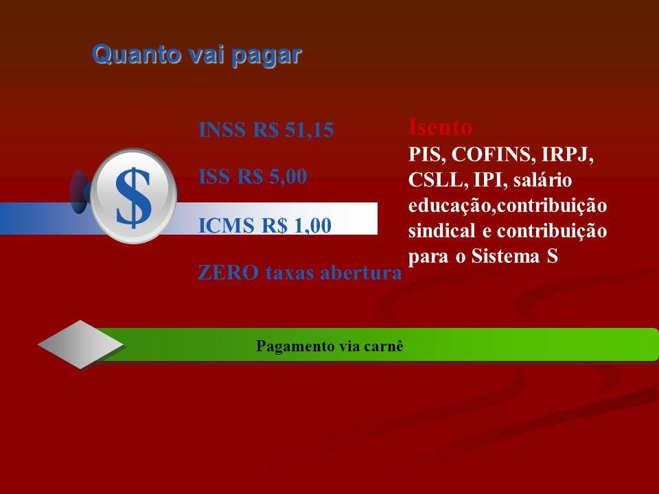 Quanto vai pagar INSS R$ 51,15 ISS R$ 5,00 $ ICMS R$ 1,00 ZERO taxas abertura Pagamento via carnê Isento PIS, COFINS, IRPJ, CSLL, IPI, salário educação,contribuição sindical e contribuição para o Sistema S