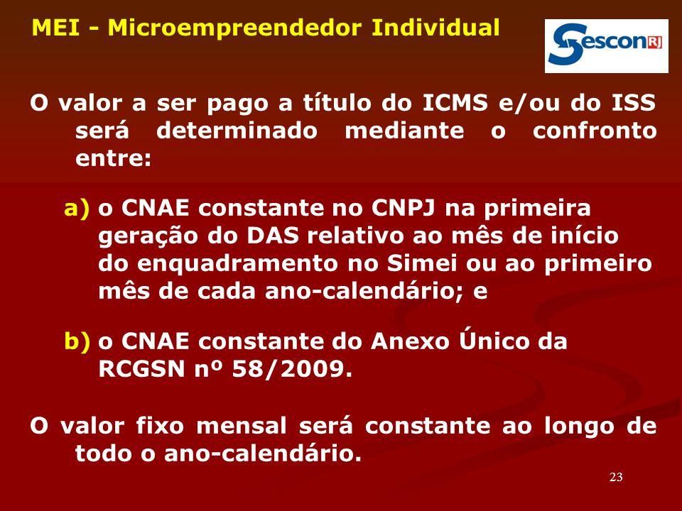 23 MEI - Microempreendedor Individual O valor a ser pago a título do ICMS e/ou do ISS será determinado mediante o confronto entre: a)o CNAE constante no CNPJ na primeira geração do DAS relativo ao mês de início do enquadramento no Simei ou ao primeiro mês de cada ano-calendário; e b)o CNAE constante do Anexo Único da RCGSN nº 58/2009.