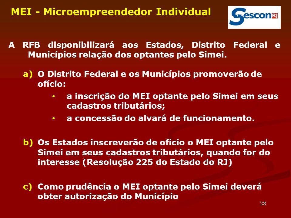 28 MEI - Microempreendedor Individual A RFB disponibilizará aos Estados, Distrito Federal e Municípios relação dos optantes pelo Simei.