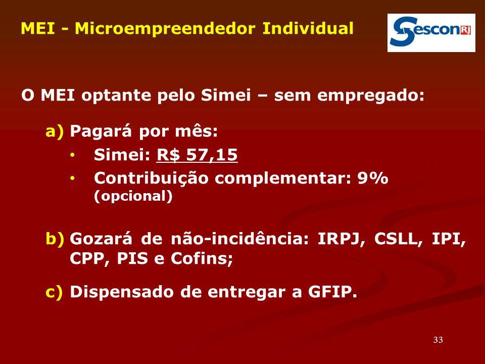 33 MEI - Microempreendedor Individual O MEI optante pelo Simei – sem empregado: a)Pagará por mês: Simei: R$ 57,15 Contribuição complementar: 9% (opcional)  b)Gozará de não-incidência: IRPJ, CSLL, IPI, CPP, PIS e Cofins; c)Dispensado de entregar a GFIP.