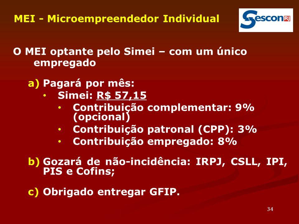 34 MEI - Microempreendedor Individual O MEI optante pelo Simei – com um único empregado a)Pagará por mês: Simei: R$ 57,15 Contribuição complementar: 9% (opcional)  Contribuição patronal (CPP): 3% Contribuição empregado: 8% b)Gozará de não-incidência: IRPJ, CSLL, IPI, PIS e Cofins; c)Obrigado entregar GFIP.