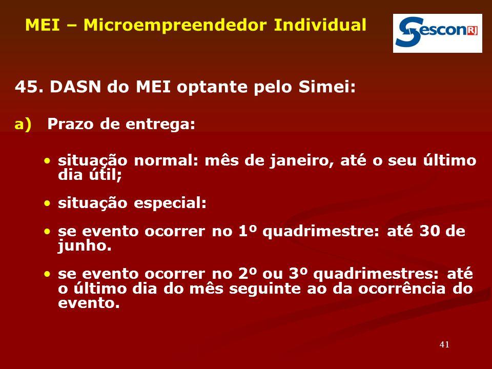 41 MEI – Microempreendedor Individual 45.