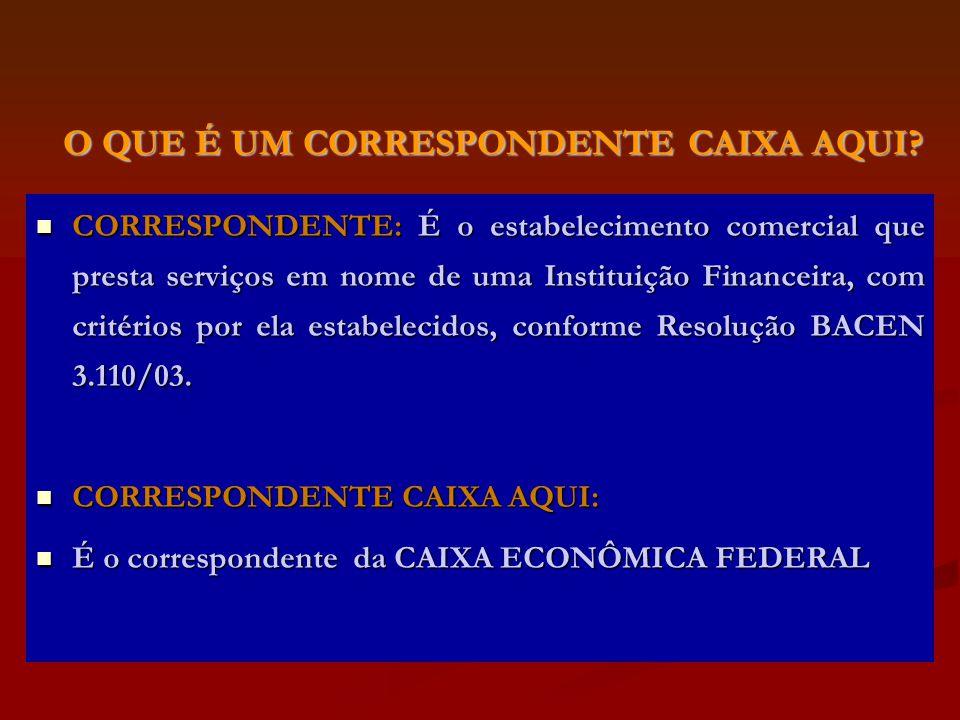 CORRESPONDENTE: É o estabelecimento comercial que presta serviços em nome de uma Instituição Financeira, com critérios por ela estabelecidos, conforme Resolução BACEN 3.110/03.