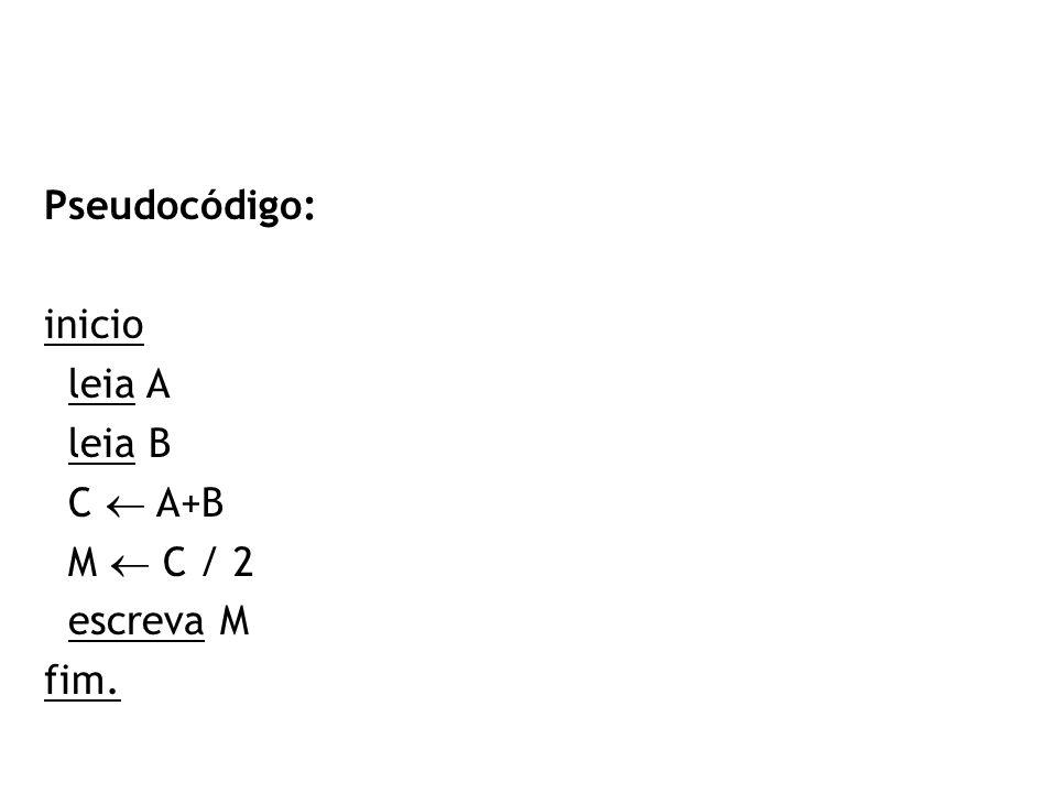 Pseudocódigo: inicio leia A leia B C  A+B M  C / 2 escreva M fim.