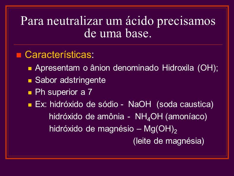 Para neutralizar um ácido precisamos de uma base. Características: Apresentam o ânion denominado Hidroxila (OH); Sabor adstringente Ph superior a 7 Ex