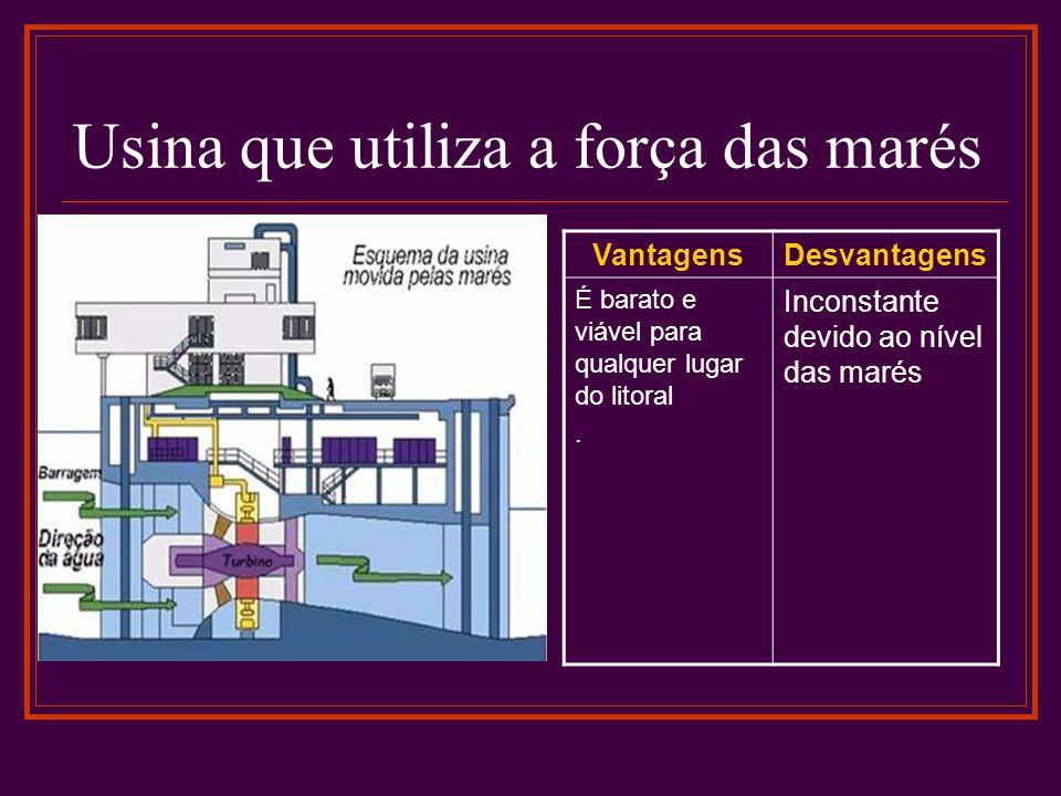 Usina que utiliza a força das marés VantagensDesvantagens É barato e viável para qualquer lugar do litoral. Inconstante devido ao nível das marés