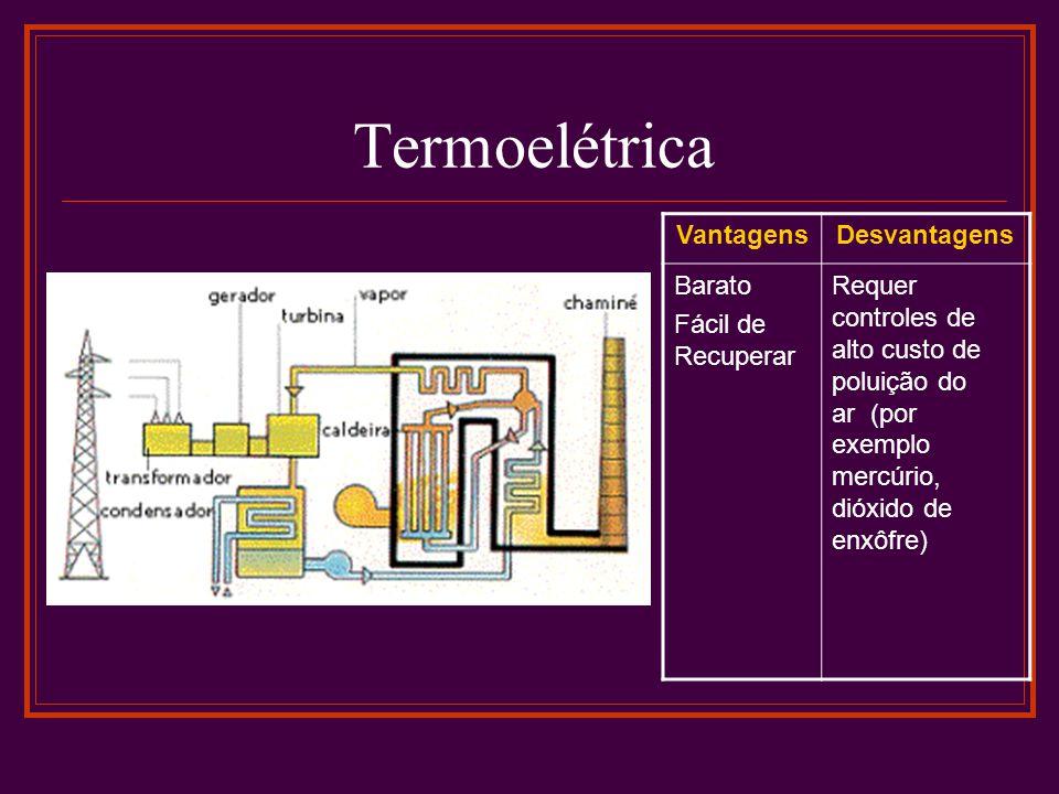 Termoelétrica VantagensDesvantagens Barato Fácil de Recuperar Requer controles de alto custo de poluição do ar (por exemplo mercúrio, dióxido de enxôfre)