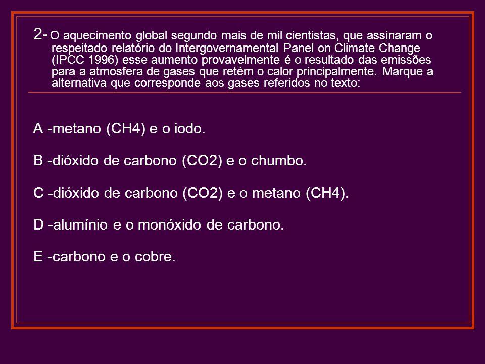 2- O aquecimento global segundo mais de mil cientistas, que assinaram o respeitado relatório do Intergovernamental Panel on Climate Change (IPCC 1996)