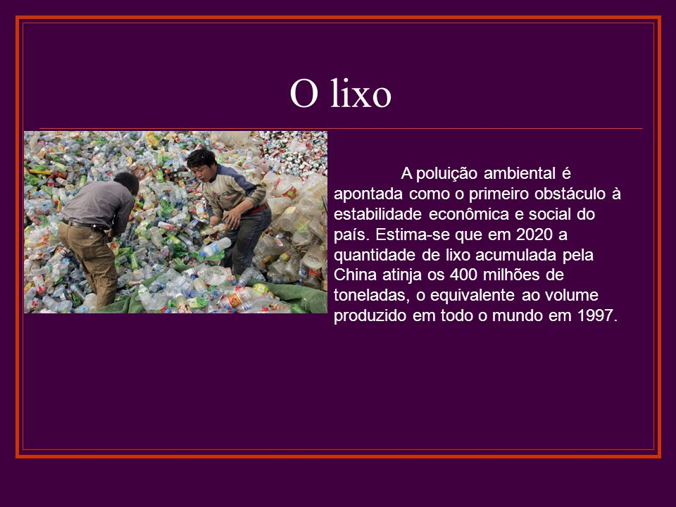 O lixo A poluição ambiental é apontada como o primeiro obstáculo à estabilidade econômica e social do país. Estima-se que em 2020 a quantidade de lixo