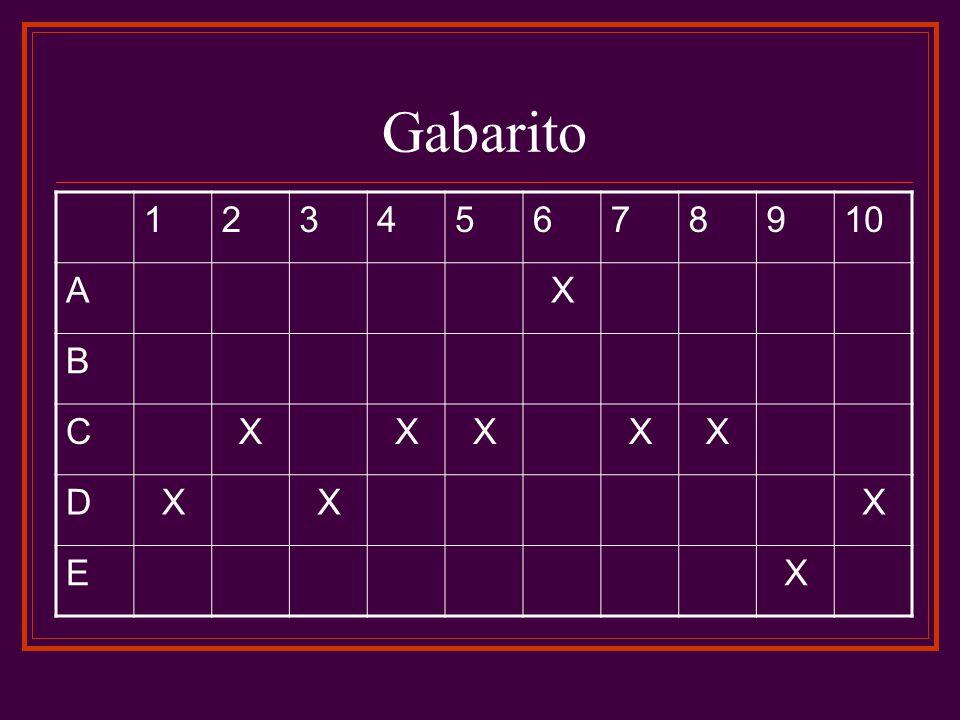 Gabarito 12345678910 AX B CXXXXX DXXX EX