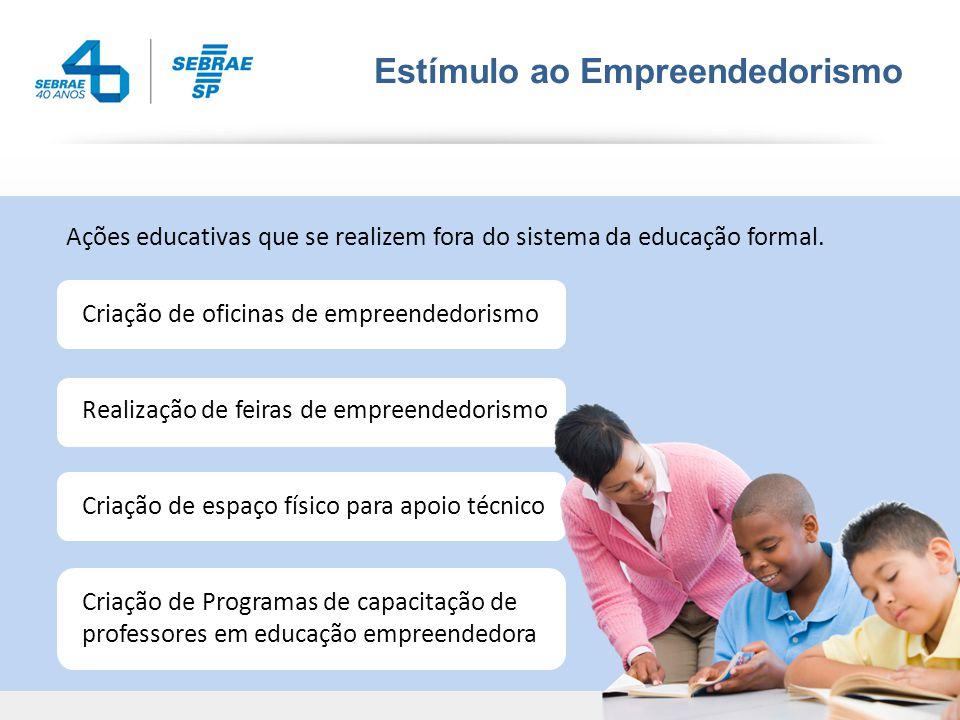 Estímulo ao Empreendedorismo Ações educativas que se realizem fora do sistema da educação formal.