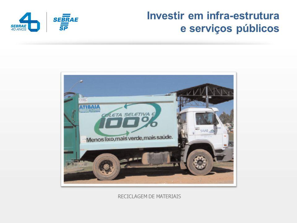 Investir em infra-estrutura e serviços públicos RECICLAGEM DE MATERIAIS
