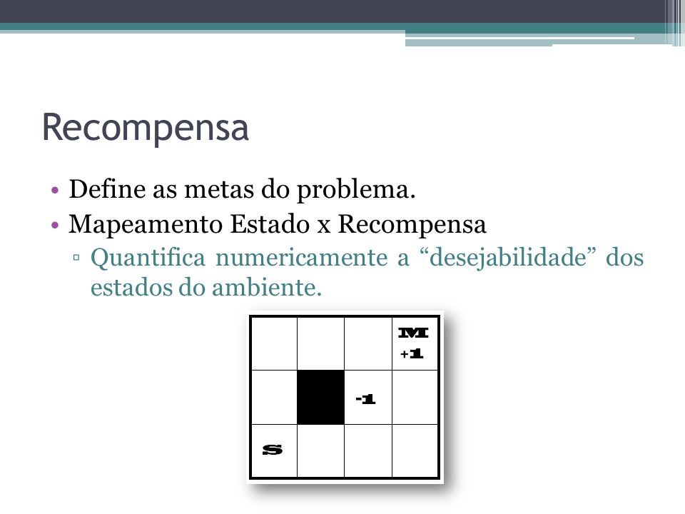 "Recompensa Define as metas do problema. Mapeamento Estado x Recompensa ▫Quantifica numericamente a ""desejabilidade"" dos estados do ambiente."