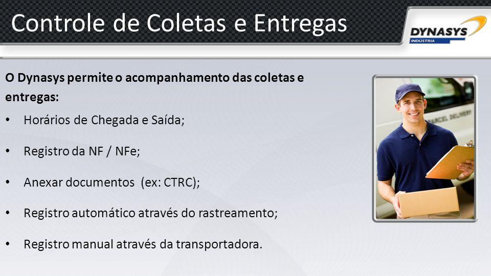 Controle de Coletas e Entregas O Dynasys permite o acompanhamento das coletas e entregas: Horários de Chegada e Saída; Registro da NF / NFe; Anexar do