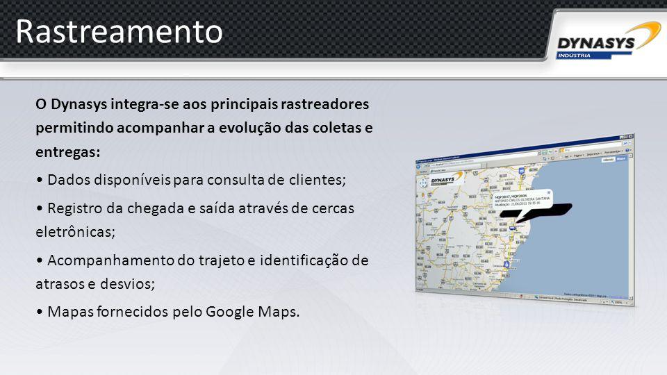 Rastreamento O Dynasys integra-se aos principais rastreadores permitindo acompanhar a evolução das coletas e entregas: Dados disponíveis para consulta