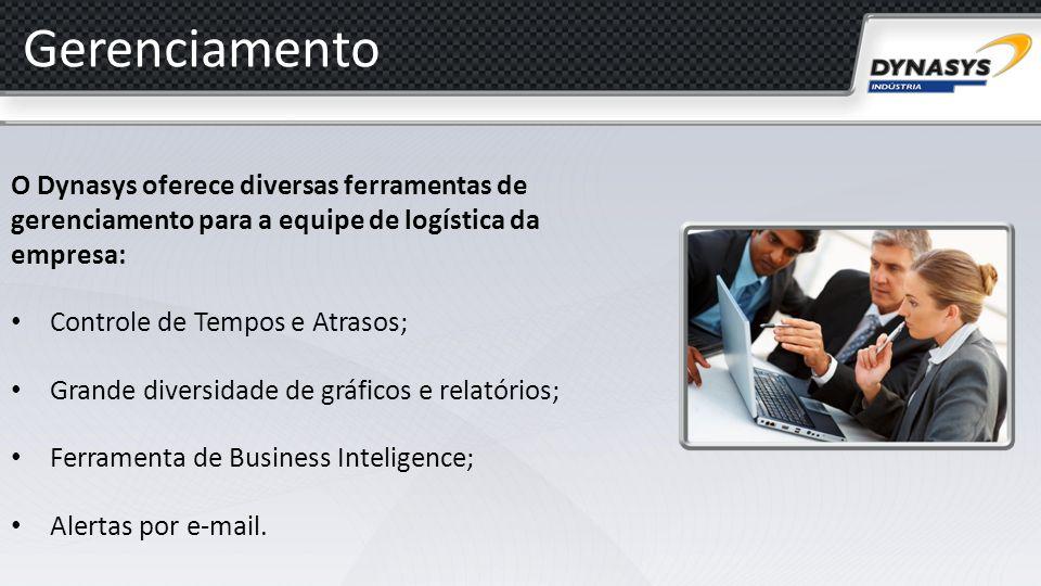 Gerenciamento O Dynasys oferece diversas ferramentas de gerenciamento para a equipe de logística da empresa: Controle de Tempos e Atrasos; Grande dive
