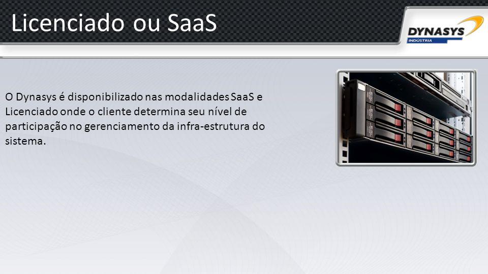 Licenciado ou SaaS O Dynasys é disponibilizado nas modalidades SaaS e Licenciado onde o cliente determina seu nível de participação no gerenciamento d