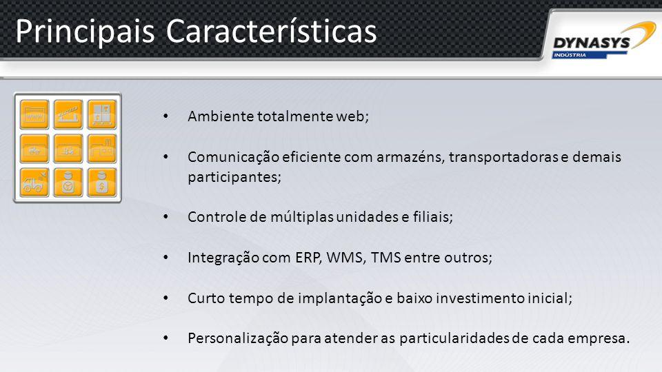 Principais Características Ambiente totalmente web; Comunicação eficiente com armazéns, transportadoras e demais participantes; Controle de múltiplas