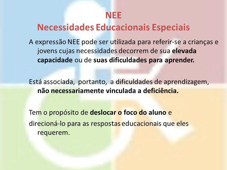 NEE Necessidades Educacionais Especiais A expressão NEE pode ser utilizada para referir-se a crianças e jovens cujas necessidades decorrem de sua elev