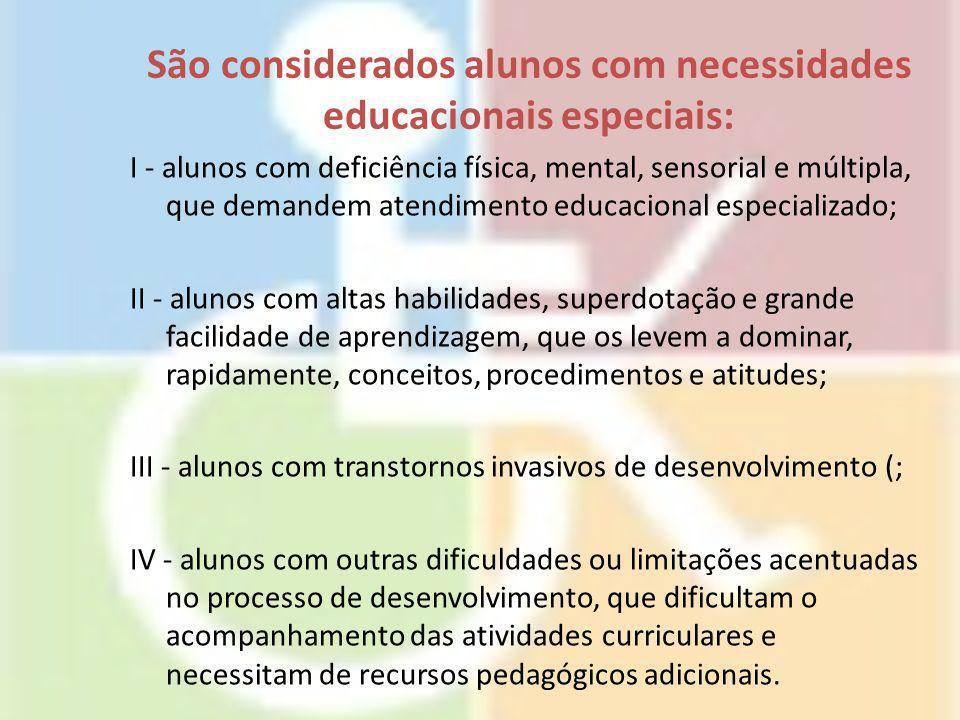 São considerados alunos com necessidades educacionais especiais: I - alunos com deficiência física, mental, sensorial e múltipla, que demandem atendim