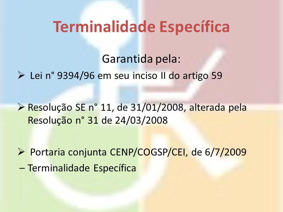 Terminalidade Específica Garantida pela:  Lei n° 9394/96 em seu inciso II do artigo 59  Resolução SE n° 11, de 31/01/2008, alterada pela Resolução n