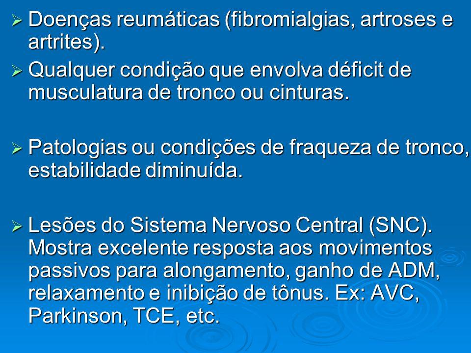  Doenças reumáticas (fibromialgias, artroses e artrites).  Qualquer condição que envolva déficit de musculatura de tronco ou cinturas.  Patologias