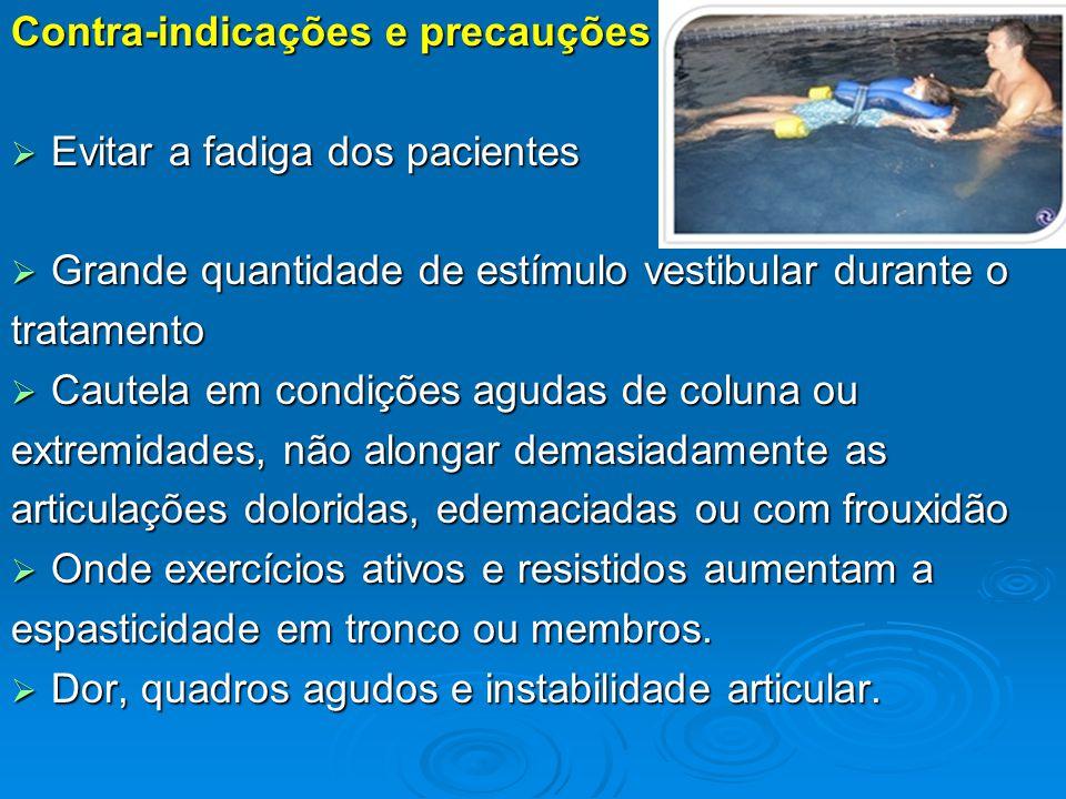 Contra-indicações e precauções  Evitar a fadiga dos pacientes  Grande quantidade de estímulo vestibular durante o tratamento  Cautela em condições