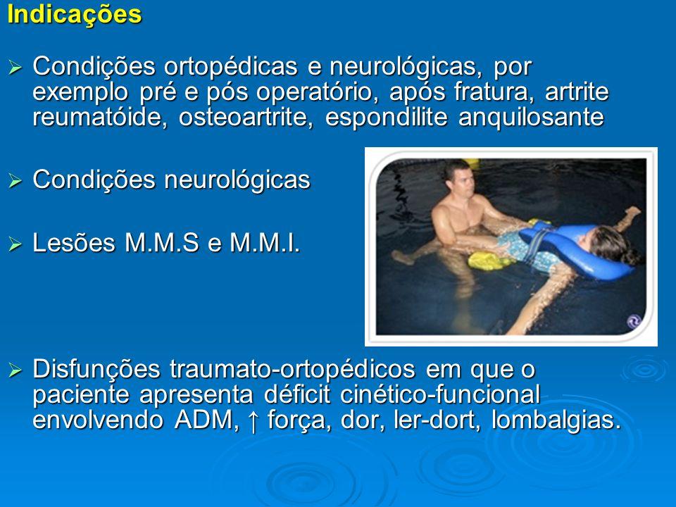 Indicações  Condições ortopédicas e neurológicas, por exemplo pré e pós operatório, após fratura, artrite reumatóide, osteoartrite, espondilite anqui