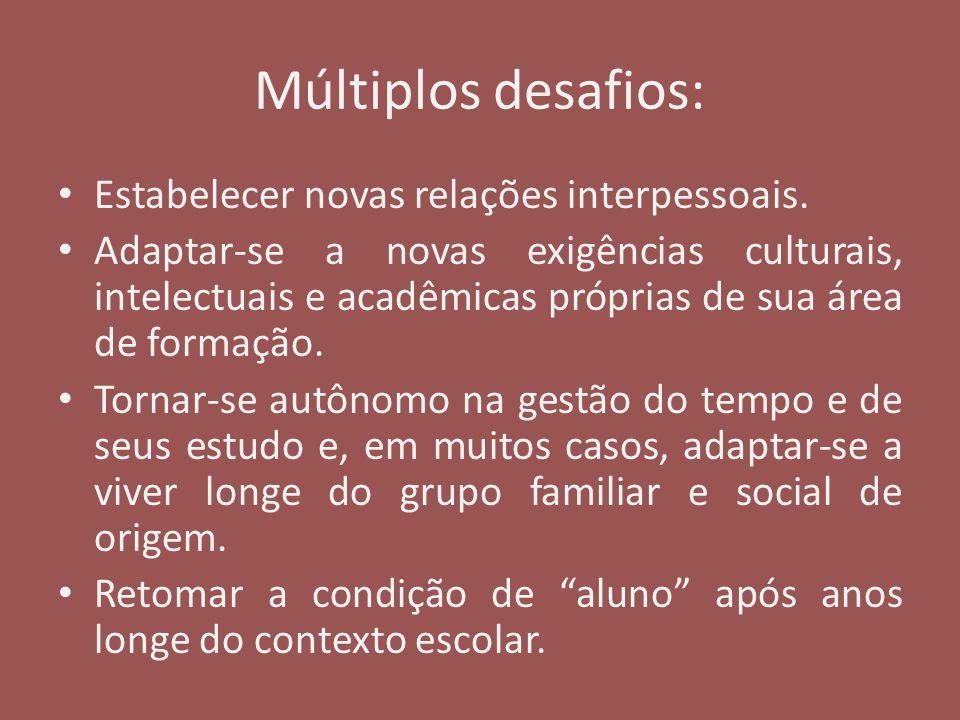 Múltiplos desafios: Estabelecer novas relações interpessoais. Adaptar-se a novas exigências culturais, intelectuais e acadêmicas próprias de sua área