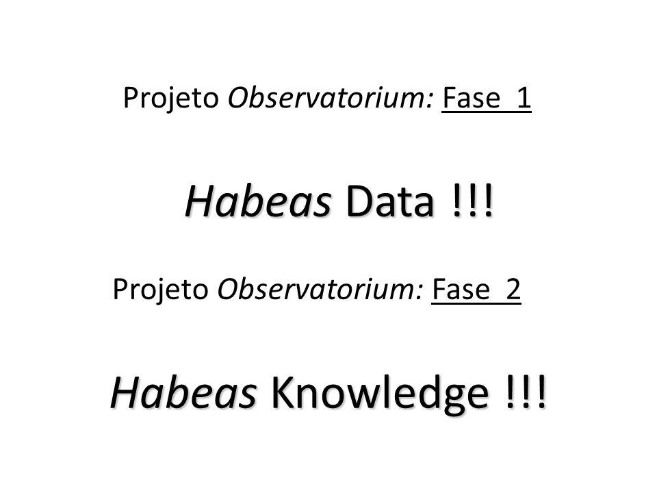 Projeto Observatorium: Fase 1 Habeas Data !!! Habeas Data !!! Projeto Observatorium: Fase 2 Habeas Knowledge !!! Habeas Knowledge !!!